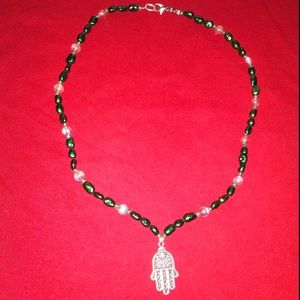 Jewelry - Pearl & Moonstone necklace with Hamsa pendant